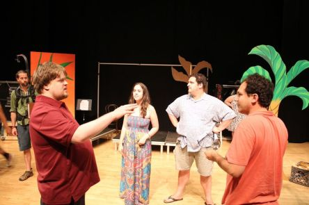 Actors Will Deaver - Samantha Elisofon - Nicky Gottlieb and Brandon Polansky discuss a scene on set.jpg
